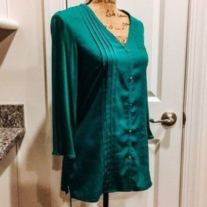 Tommy Hilfiger Tops Blouse pleated v-neck green S